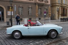 Alfa Romeo oldtimer car. Augsburg, Germany - October 1, 2017: Alfa Romeo oldtimer car at the Fuggerstadt Classic 2017 Oldtimer Rallye on October 1, 2017 in Stock Photo