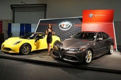 Alfa Romeo Spyder ed alfa Romeo Giulia fotografia stock