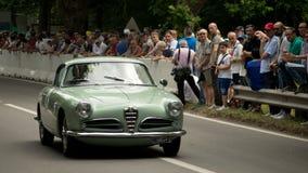 Alfa Romeoat Vernasca srebra flaga 2017 fotografia stock