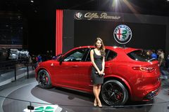 Alfa Rpmeo on Display at the 2017 North American International Auto Show Royalty Free Stock Photos