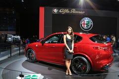 Alfa Rpmeo na exposição na feira automóvel 2017 internacional norte-americana Fotos de Stock Royalty Free