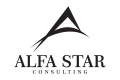 Alfa star logo. Letter A with dynamic strike stroke line Stock Images