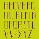 Alfabet, ισχυρές επιστολές, απομονωμένες επιστολές, πράσινα και πορφυρά χρώματα Στοκ εικόνες με δικαίωμα ελεύθερης χρήσης