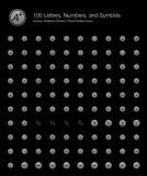 Alfabet, Aantallen en Symbolenwebpictogrammen voor Zwarte Achtergrond vector illustratie