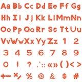 Alfabet, aantallen en tekens, reeks, baksteen Royalty-vrije Stock Foto
