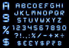 Alfabet, aantallen, munt en symbolenpak, rechthoekige gebogen B Royalty-vrije Stock Afbeeldingen