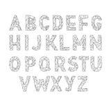 Alfabet abc vectordoopvont Typebrieven Lowpoly Stock Foto's