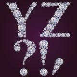 Alfabet av diamanter YZ Arkivbilder