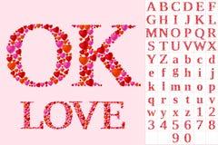 Alfabet av hjärtor Arkivbild