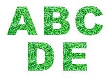 Alfabet A, B, C, D, E van groen gras dat op wit wordt geïsoleerd Abstract alfabet Royalty-vrije Stock Afbeeldingen