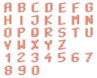 Alfabet, bakstenen Stock Afbeelding