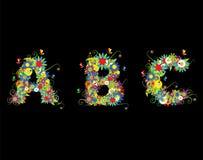 Alfabet, bloemenontwerp Stock Fotografie