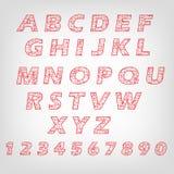 alfabet bokstäver i linjer retro också vektor för coreldrawillustration Arkivbild