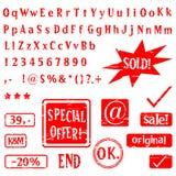Alfabet, brieven, aantallen, cijfers, tekens Stock Foto