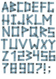 Alfabet - brieven van een jeansstof Stock Fotografie