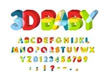 alfabet 3D för Baby zongarnering Stilsort för ungezonvektor Caolorful roliga bokstäver 3D med softed hörn Dra tillbaka till royaltyfri illustrationer