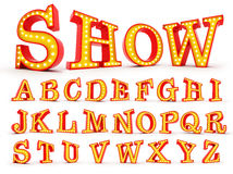Alfabet 3d som för ljus kula för Broadway stil redering Arkivbilder