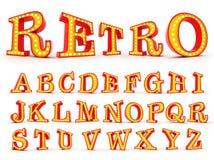 Alfabet 3d som för ljus kula för Broadway stil redering Arkivbild