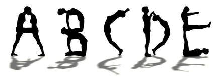 Alfabet dat door de mens ABCDE wordt gevormd Royalty-vrije Stock Afbeeldingen