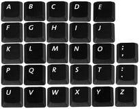 Alfabet dat met geïsoleerdei toetsenbordenknopen wordt gemaakt Stock Afbeeldingen