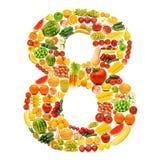 Alfabet dat van vruchten en groenten wordt gemaakt Stock Foto
