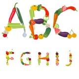 Alfabet dat van vruchten en groenten wordt gemaakt Stock Fotografie