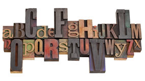 Alfabet in de blokken van de letterzetseldruk Royalty-vrije Stock Afbeelding