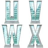 Alfabet in de vorm van stedelijke gebouwen. Royalty-vrije Stock Afbeeldingen