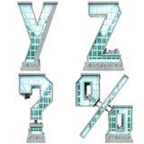 Alfabet in de vorm van stedelijke gebouwen. Stock Afbeelding