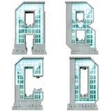 Alfabet in de vorm van stedelijke gebouwen. Stock Afbeeldingen