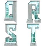 Alfabet in de vorm van stedelijke gebouwen. Stock Fotografie