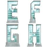 Alfabet in de vorm van stedelijke gebouwen. Royalty-vrije Stock Foto's