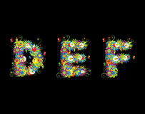 Alfabet, diseño floral Fotografía de archivo