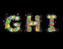 Alfabet, diseño floral Imagen de archivo
