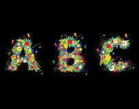 Alfabet, disegno floreale Fotografia Stock