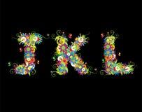 Alfabet, disegno floreale Fotografie Stock Libere da Diritti
