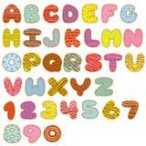 Alfabet en aantallen zoete donuts royalty-vrije illustratie