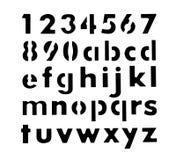 Alfabet en van de aantallenstencil vormen Stock Foto