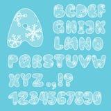 Alfabet Engelse letters en getallen in hoofdletters stock afbeelding
