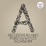 Alfabet för fredtecken och siffravektor vektor illustrationer