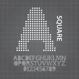 Alfabet för fyrkantig matris och nummervektor Royaltyfria Bilder
