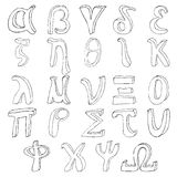 Alfabet för handteckningsgrek Arkivfoton