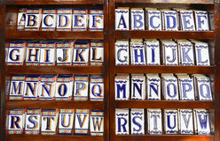 Alfabet för keramisk tegelplatta Stock Illustrationer