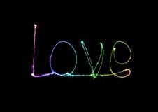 Alfabet för ljus för förälskelsetomteblossfyrverkeri Royaltyfri Foto
