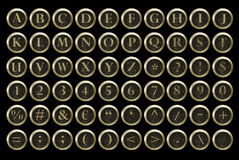 Alfabet för Steampunk skrivmaskinstangent Fotografering för Bildbyråer
