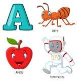 Alfabet för tecknad film A royaltyfri illustrationer