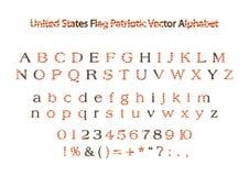 Alfabet för vektor för flagga för USA Amerika patriotiskt stock illustrationer