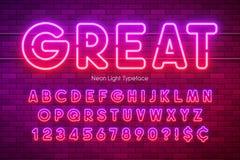 Alfabet f?r neonljus, m?ngf?rgad extra gl?dande stilsort vektor illustrationer