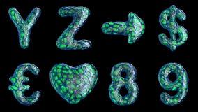 Alfabet från blå plast- med abstrakt begrepphål som isoleras på en svart bakgrund Y Z, pil, dollar, euro, hjärta, 8, 9 lager videofilmer