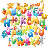 Alfabet för ungar med bilder Arkivbilder